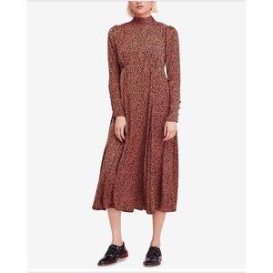 Free People Loveless Printed Open-Back Midi Dress
